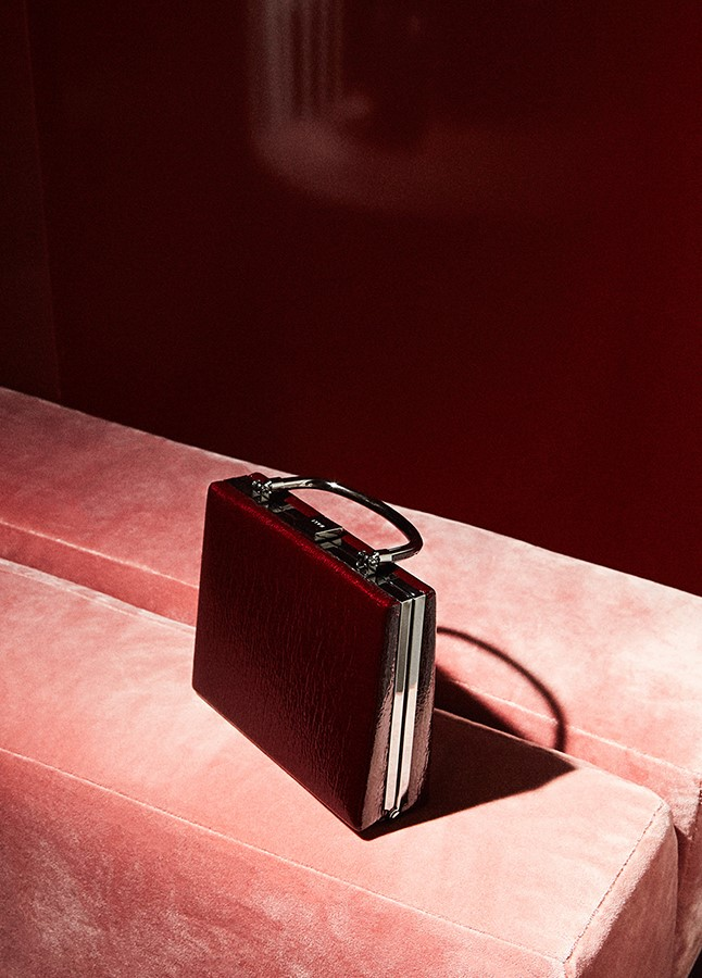 BURGUNDY PATENT CLUTCH WITH HANDLE